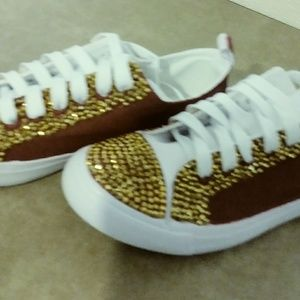 Shoes - Burgundy and gold sneakers
